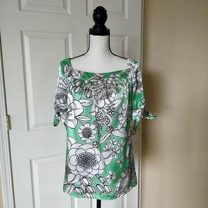 *Allison Taylor floral square neck blouse sz XL